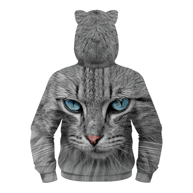 New 3D cat digital print bear ear Hoodie