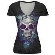 Skull digital print T-shirt women's sports large V-neck