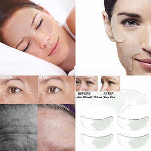5PC Silicone Anti Wrinkle + Eye + Chin  + Reusable Face Lifting Overnight PAds