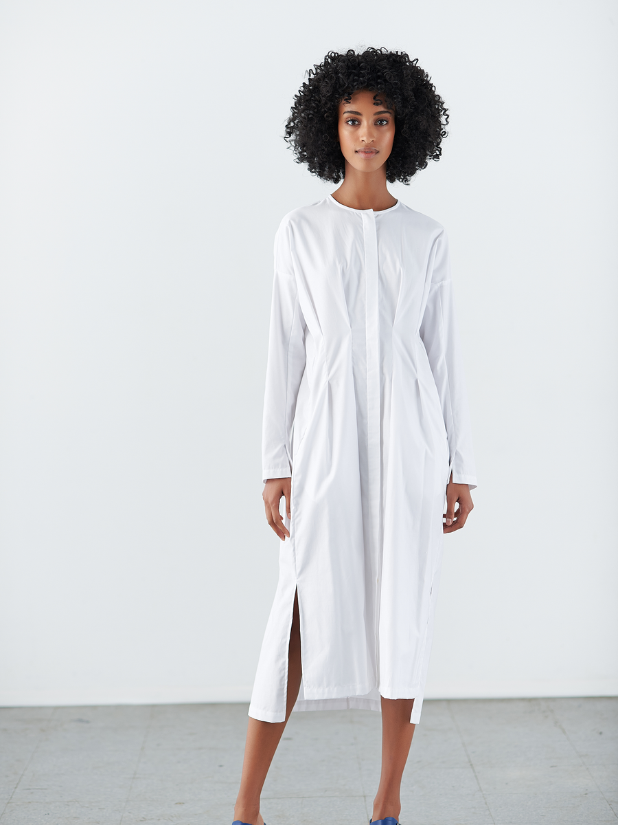 Pintuck Shirt Dress