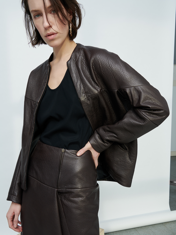 Leather Long-Sleeved Hex Jacket