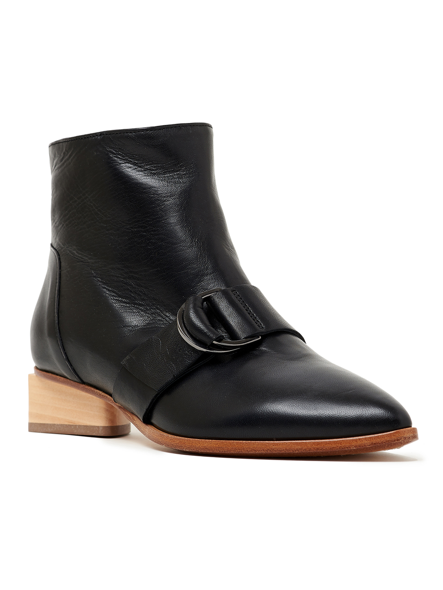 Zero + Maria Cornejo Adan Ankle Boot in Black Smooth Nappa Leather, with buckle strap at instep and low wooden heel.