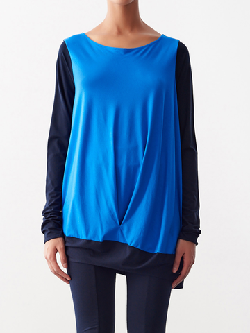 Color Block Long-Sleeved Off Shoulder Bubble Top