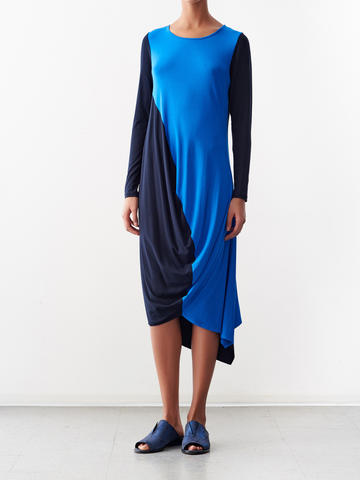 Color Block Long-Sleeved Opposite Dress