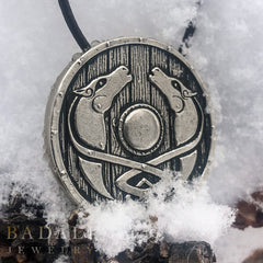 Custom White Bronze Eowyn Shield in the Snow
