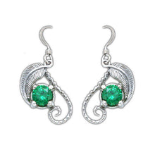 Load image into Gallery viewer, 14k White Gold Emeralds of Girion Earrings