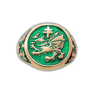 Gold Order of The Dragon Signet Ring - Enameled - Badali Jewelry - Ring