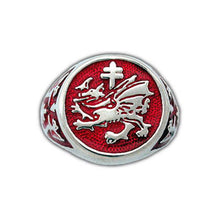 Load image into Gallery viewer, Gold Order of The Dragon Signet Ring - Enameled - Badali Jewelry - Ring