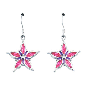 Two-tone Purple and Pink Nalthis Flower Earrings