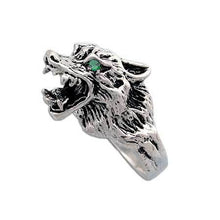 Load image into Gallery viewer, Clearance Wolf Ring with Green Stone Eyes - Size 8 - Badali Jewelry - Ring