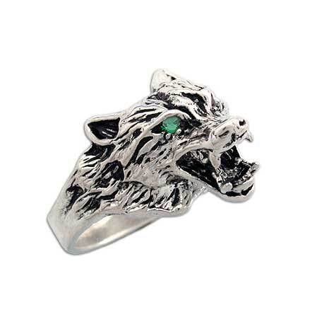 Clearance Wolf Ring with Green Stone Eyes - Size 8 - Badali Jewelry - Ring