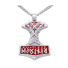 Load image into Gallery viewer, Enameled Ornate Thor's Hammer Necklace - Badali Jewelry - Necklace