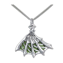 Load image into Gallery viewer, Enameled Silver Bladed Fan Pendant - Badali Jewelry - Necklace