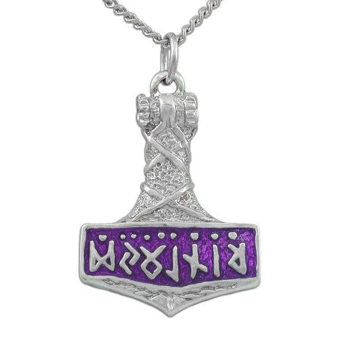 Enameled Thor's Hammer Necklace - Badali Jewelry - Necklace