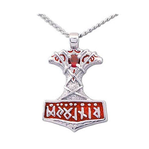 Enameled Thor's Hammer Necklace with Gemstone - Badali Jewelry - Necklace