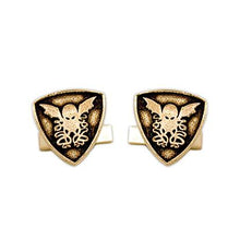 Load image into Gallery viewer, Gold Cthulhu Crest Cufflinks - Badali Jewelry - Cufflinks