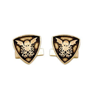 Gold Cthulhu Crest Cufflinks - Badali Jewelry - Cufflinks