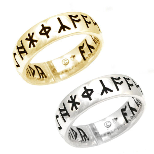 Gold Custom Anglo-Saxon Rune Ring - Comfort Fit - Badali Jewelry - Ring