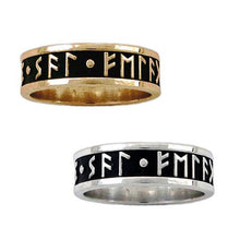 Load image into Gallery viewer, Gold Custom Elder Futhark Rune Ring - Channel Band - Badali Jewelry - Ring