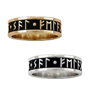 Gold Custom Elder Futhark Rune Ring - Channel Band - Badali Jewelry - Ring
