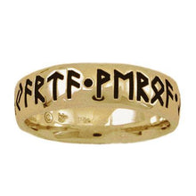 Load image into Gallery viewer, Gold Custom Elder Futhark Rune Ring - Comfort Fit - Badali Jewelry - Ring