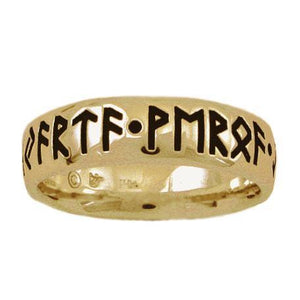Gold Custom Elder Futhark Rune Ring - Comfort Fit - Badali Jewelry - Ring