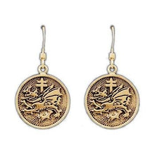 Load image into Gallery viewer, Gold Order of the Dragon Earrings - Badali Jewelry - Earrings