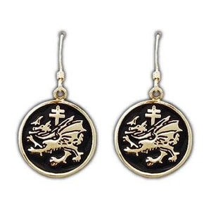 Gold Order of the Dragon Earrings - Enameled - Badali Jewelry - Earrings