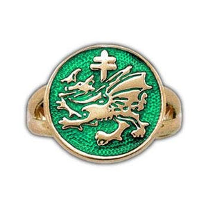 Gold Order of the Dragon Sigil Ring - Enameled - Badali Jewelry - Ring