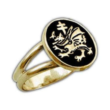 Load image into Gallery viewer, Gold Order of the Dragon Sigil Ring - Enameled - Badali Jewelry - Ring
