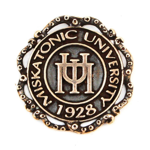 Miskatonic University Pin with Tentacle Ribbon - Bronze - Badali Jewelry - Pin