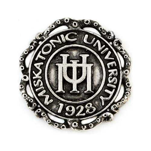 Miskatonic University Pin with Tentacle Ribbon - Silver - Badali Jewelry - Pin