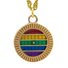 Load image into Gallery viewer, PRIDE Hobbiton™ Door - Pendant or Key Chain - Badali Jewelry - Necklace This is a antiqued yellow bronze hobbit door filled with glossy enamel of the pride flag colors. The first color on top is red, below is yellow, followed by green, blue, and lastly purple. Officially licenced Lord of the Rings jewelry, hobbit gay, hobbit queer, hobbit ltbt