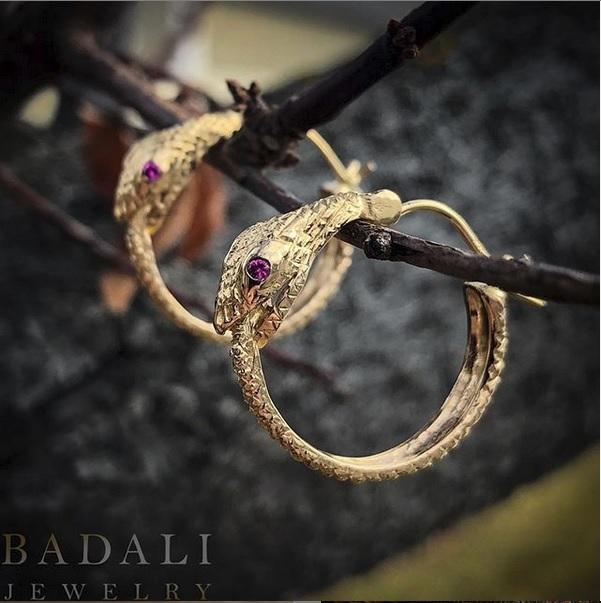 Single Gold Ouroboros Earrings with Ruby Eyes - Badali Jewelry - Earrings