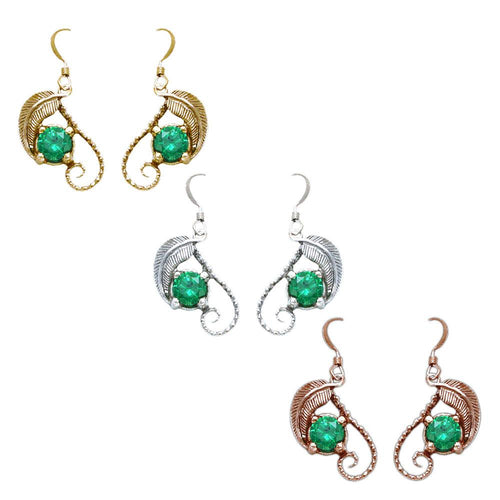 The Emeralds of GIRION - Gold MIRKWOOD™ Elven Earrings - Badali Jewelry - Earrings