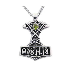 Load image into Gallery viewer, Thor's Hammer Necklace with Gemstone - Badali Jewelry - Necklace