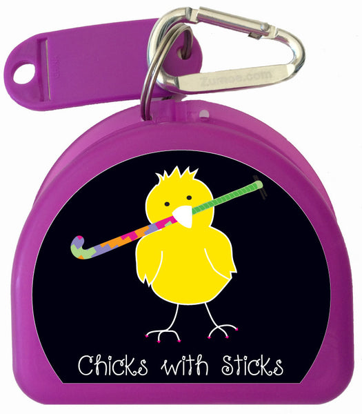 Field Hockey Mouth Guard Case - Chicks with Sticks - 624