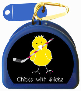 628 - Mouth Guard Case - Chick with Ice Hockey Stick