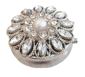 Zumoe Decorated Pill Case - Crystal Waters - Round Silver Pill Box Tablet Medicine Vitamin Organizer Holder … 304-P-SI Crystal Waters