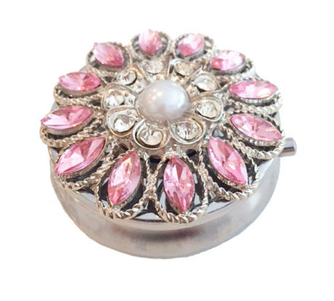 Zumoe Decorated Pill Case - Romance - Round Silver Pill Box Tablet Medicine Vitamin Organizer Holder … 305-P-SI Romance