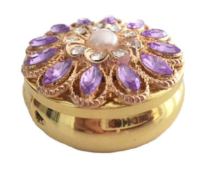 Zumoe Decorated Pill Case - Romantic Sunset - Round Gold Pill Box Tablet Medicine Vitamin Organizer Holder … 302-P-GO Romantic Sunset