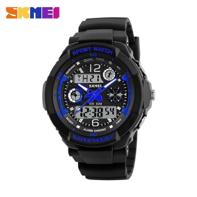 LED Multi-function Dual Time Quartz Digital Watch