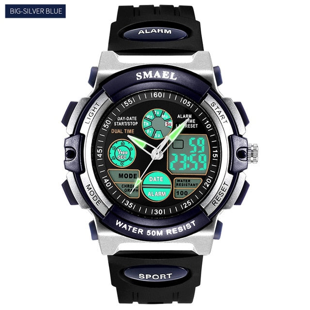 LED Display 50M Water Resistant Sports Watch