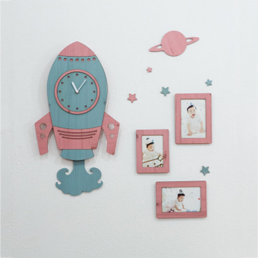 Stunning Space Rocket Wall Clock with 3D Stickers