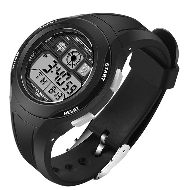 Water-Resistant Stainless Steel and Rubber Digital Watch