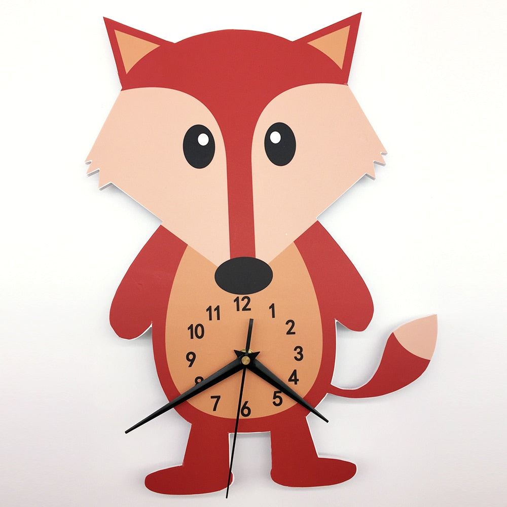 Nordic Fox Wall Clock for Nursery or Play Room