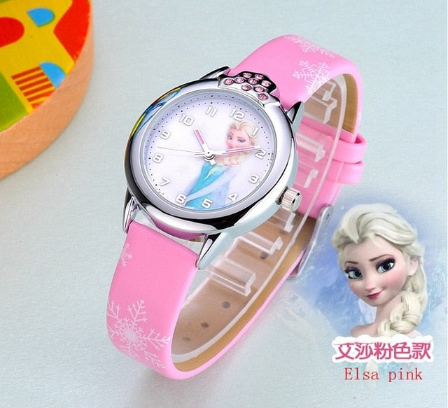 Frozen Princess Anna and Elsa Crystal Quartz Wristwatch
