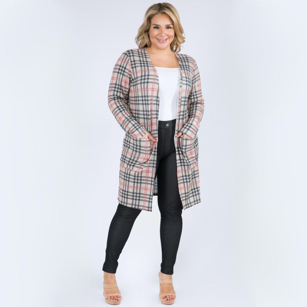 Plaid Maxi Cardigan