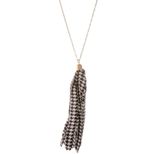 Hounds tooth Tassel Necklace