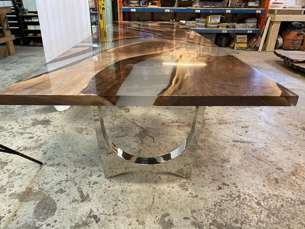Crystal Clear Epoxy Dining Table